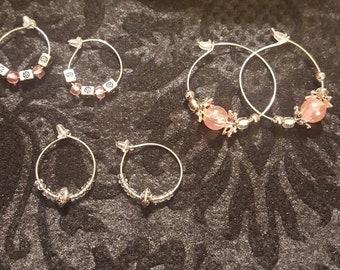 SPECIAL handmade jewelry set for 7.00 set of 3 hoop earrings and pink wire necklace with dangel pendant and Angel heart wimgs