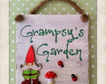 Personalised Outdoor Garden Sign - Gnome or Pixie Design Plaque