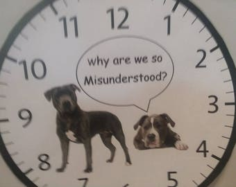"""Cute Wall Clock with Pitbulls-Battery operated-9"""" round"""