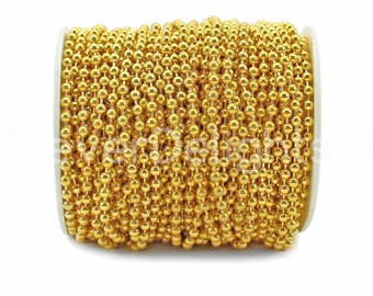100 Feet - Gold 3.2mm Ball Chain Spool - For Necklaces, Jewelry, Dog Tags, Pendants - Bulk Chain Roll - 3.2 mm