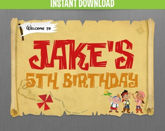 Disney Jake and The Neverland Pirates Birthday Welcome Sign - Instant Download and Edit with Adobe Reader