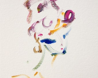 Small fashion painting of woman in hat