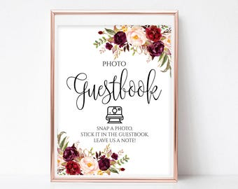 Photo Guestbook Printable Photo Guestbook Sign Printable Photo Guestbook Photo Guest Book Sign Photo Guest Book Printable 4x6, 5x7, 8x10