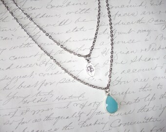 Layering necklace with personnalized initial leaf charm and framed turquoise drop