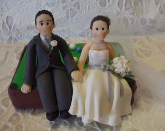 custom bride and groom with billiards wedding cake topper