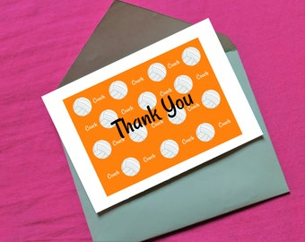 Volleyball Coach Thank You in orange - digital download- 7 x 5