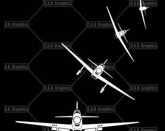 P-51 Mustang white vinyl decals