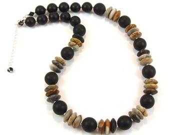 Picasso Jasper & Onyx Gemstone Necklace