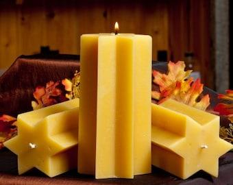 Star Pillar Beeswax Candle