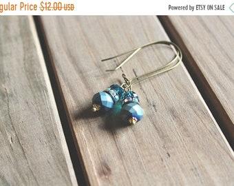 30% OFF SALE Matte peacock blue, rhinestone, and glossy peacock blue glass bead drop earrings, kidney wire earrings