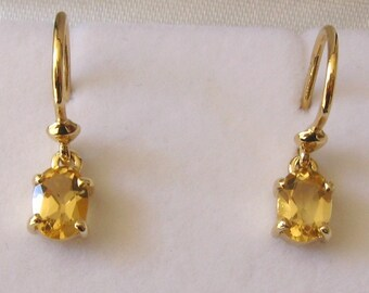 Genuine SOLID 9K 9ct YELLOW GOLD November Birthstone Citrine Earrings