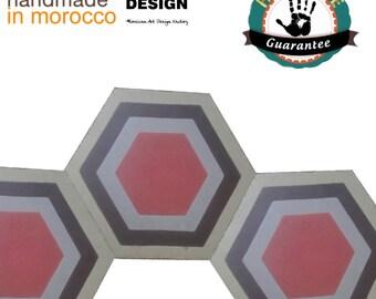 Original Marokkanische Hexagonal Zementfliesen 28,8 m2  1 bis 5 Farbig 100% Handarbeit