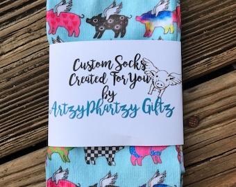Custom Flying Pig Socks