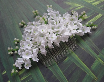 Lily of valley Hair Flower Comb -Weddings-