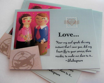 SALE Hand Painted Love Boxes Pink Blue Valentine Couple Postcard 10 Pack