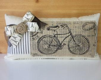 French Country Pillow, Paris Bike Pillow, Paris Apartment Decor, Black & White Ticking, Burlap, Silk, Eiffel Tower Bow, Shabby Neutral
