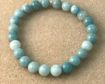 Amazonite Beaded Bracelet, Amazonite Bracelet, Bead Bracelets, Stretch Bracelets, Gemstone Bracelets, Amazonite Jewelry, 8mm Bracelet