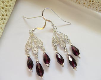 Garnet Chandelier Earrings, January Birthstone Earrings, Sterling Silver Earrings, Dangle Earrings, Faceted Semi-precious Gemstone Earrings