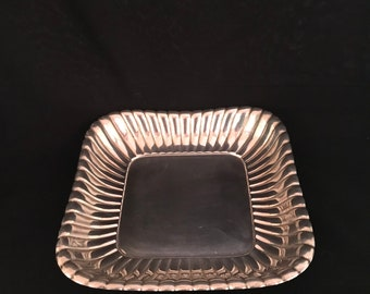 Reed and Barton Sterling Ribbed Square Bowl in the Trajan pattern  (SH-013)