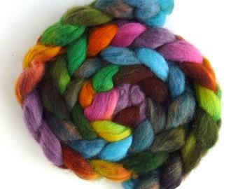 Florescence, Finn Cross Wool Roving - Hand Painted Spinning or Felting Fiber