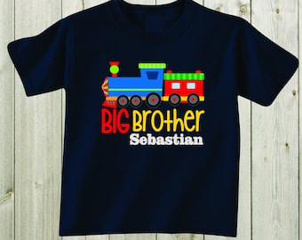 Big brother Shirt Trains design Toddler Shirt Boy Shirt Personalized Shirt Sibling Outfit Sibling Shirt Baby Shower Gift Boy Clothes Outfit