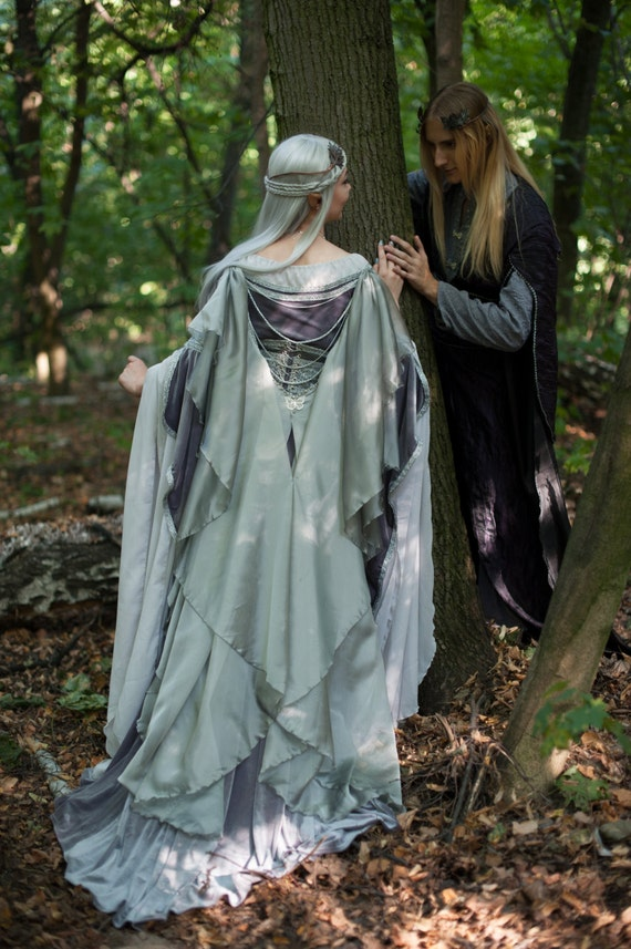 Silver gray elven dress romantic fantasy gown wedding dress for Elven inspired wedding dresses
