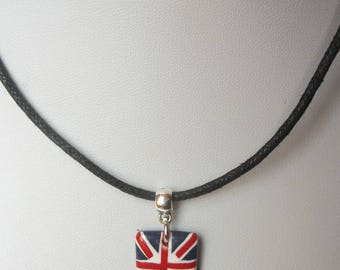 Necklace child English flag in fimo