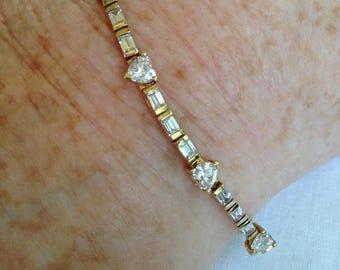 Gold Hearts and Baguettes CZ Sterling Silver Bracelet