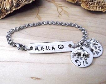 Mama Bear Jewelry, Mama Bear Bracelet, Bear Charm Bracelet, Mommy Jewelry, Stainless Steel Bracelet, 1+ discs