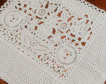 Mexican Papel Picado Square Tablecloth - Cactus, Sun, & Birds