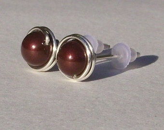 Maroon Pearl Stud Earrings (8mm), Swarovski Pearl Stud Earrings, Wire Wrapped Sterling Silver Stud Earrings, Medium Maroon Stud Earrings