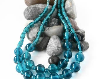 Double Strand Necklace - Mixed Beads - Repurposed - Blue Glass Necklace