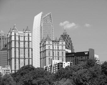 Atlanta Skyline Photograph, Black and White Photography, Piedmont Park