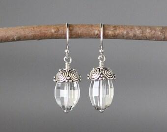 Quartz Crystal Earrings - Bali Silver Earrings - Silver Dangles - Wire Wrapped Earrings Silver- Clear Quartz Earrings - April Birthstone