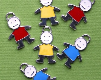 6 Boy Charms Enamel Plated Fun and Colorful  - E110