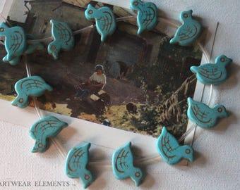 Clearance, Duck Stone Beads, Sold Per 6, Blue Turquoise Stone, 18x30 Duck Beads, Duck beads, Turquoise Duck Beads, Ducks, ArtWear Elements