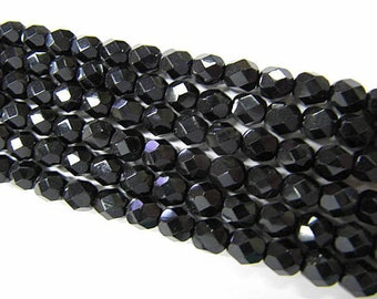 Faceted 6mm Round Beads Fire Polished Glass Beads, Black, Czech Glass, 25 beads, Choose One or Two Strands, Jet Black