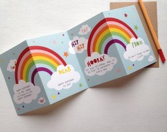 Concertina Rainbow Happy Birthday Card. Special Birthday Card. Keepsake Rainbow Birthday Card. Kid's Birthday Card. Teenage Birthday Card.