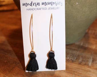 Black Silk Tassel Dangle Earrings | Simple Tassel Earrings, Black Tassels