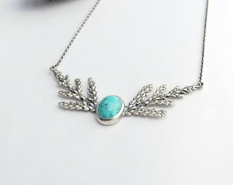 Cedar and turquoise woodland necklace sterling silver
