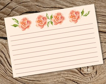 Printable 4 x 6 Blank Index Card - Pink Watercolour Rose Theme - Stylish Card- Revision, Recipe, College, School Storage Organisation - PDF