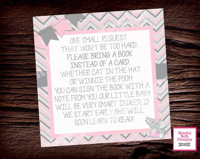 ELEPHANT BOOK INSERT, Elephant Tutu Printable Baby Shower Book Card, Elephant Tutu Insert, Book Insert, Instant Download