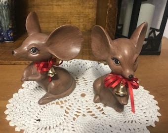 Charming set of 2 vintage mice figurines. Christmas mouse. Ceramic art