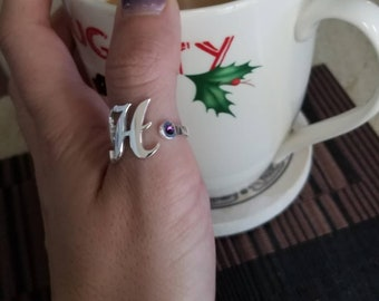 Birthstone initial ring