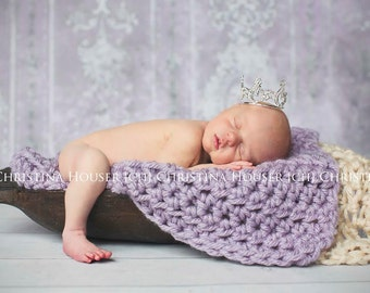 Chunky Lavender Purple Newborn Baby Blanket Photo Prop