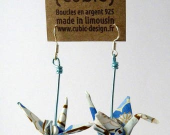 Origami crane blue plum earrings