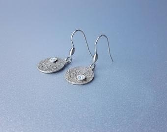 Disc Earrings, Textured Earrings, Silver Drop Earrings, Cubic Zirconia Disc Earrings