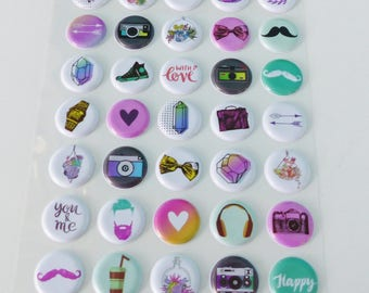 45 puffy domed embossed mustache camera basketball Hat arrow stickers stickers