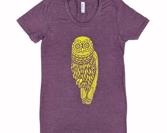 Special -- Women's Yellow Owl T-Shirt on Heather Plum