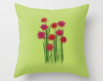 Flowers Bouquet pillow cover-Green pillow-Floor pillow-Floral 16x16-18x18-20x20-Valentine gift-Cool pillow-Designer-Romantic gift-Modern